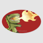 Dinosaur or Dragon kids art with Loston Wallace Oval Stickers