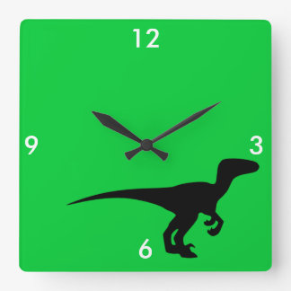 Dinosaur Outline Jurassic Era Square Wall Clock
