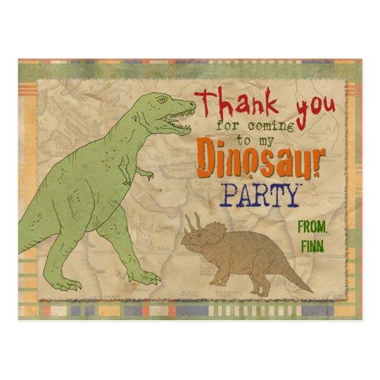 Dinosaur Party Thank You Postcard