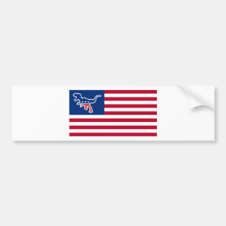 Dinosaur Party USA Flag Parody Bumper Sticker