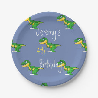 Dinosaur Pattern Cute Boys Age Birthday Paper Plate