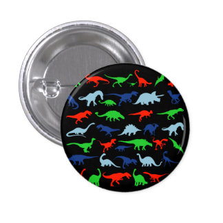 Dinosaur Pattern Green Blue and Red on Black 3 Cm Round Badge