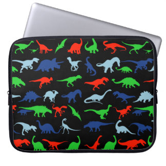 Dinosaur Pattern Green Blue and Red on Black Laptop Computer Sleeves