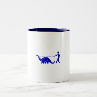 DINOSAUR PET WALKER LEASH Two-Tone COFFEE MUG