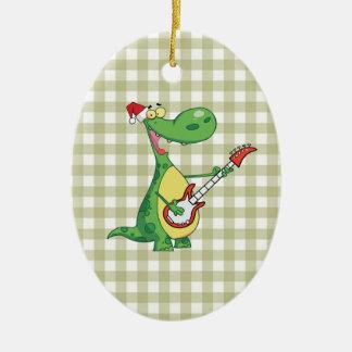 dinosaur playing guitar christmas ornament