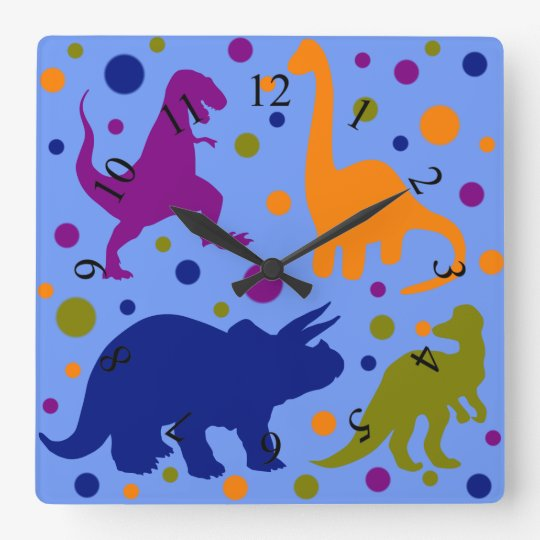 Dinosaur polka dot cute animal kids room square