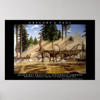 Dinosaur Poster Diplodocus Allosaurus Greg Paul