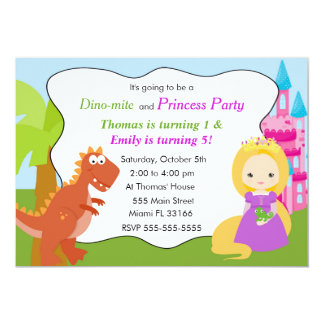 Dinosaur Princess Invitation Kids Birthday Party 1