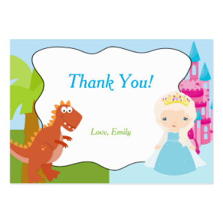 Dinosaur Princess Thank You Tag Label Large Business Cards (Pack Of 100)
