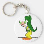 Dinosaur riding clown keychains