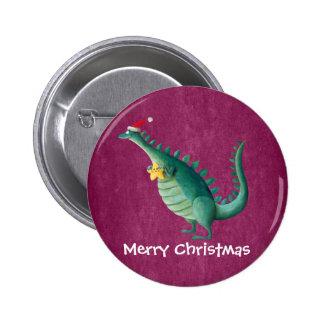 Dinosaur - Santa Claus Helper 6 Cm Round Badge