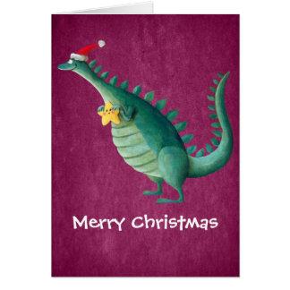 Dinosaur - Santa Claus Helper Greeting Card