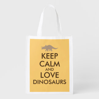 Dinosaur Shopping Bag Keep Calm Love Triceratops
