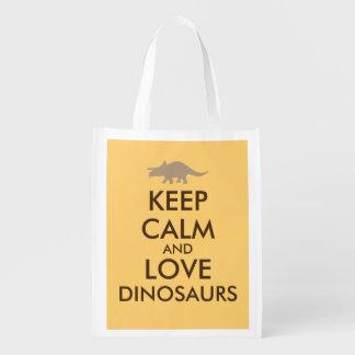 Dinosaur Shopping Bag Keep Calm Love Triceratops