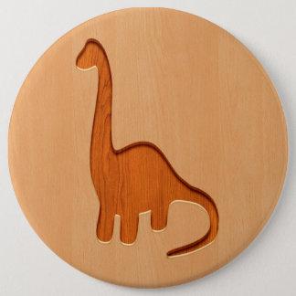 Dinosaur silhouette engraved on wood design 6 cm round badge
