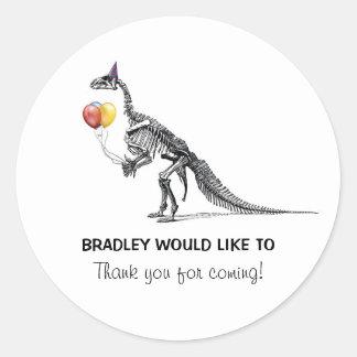 Dinosaur Sketch Balloons Birthday Party Stickers