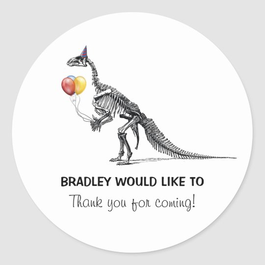 Dinosaur Sketch Balloons Birthday Party Stickers