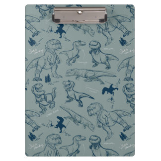 Dinosaur Sketch Pattern Clipboard
