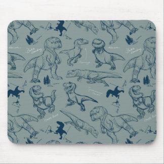 Dinosaur Sketch Pattern Mouse Mat