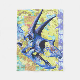 Dinosaur Skull Colorful Design in Blue and Yellow Fleece Blanket