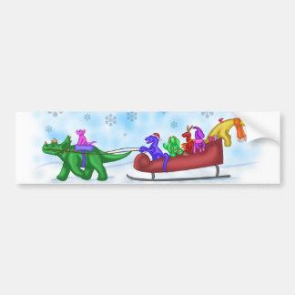 Dinosaur Sleigh Ride Bumper Sticker