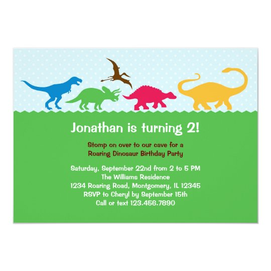 Dinosaur Stampede Birthday Party Invitation