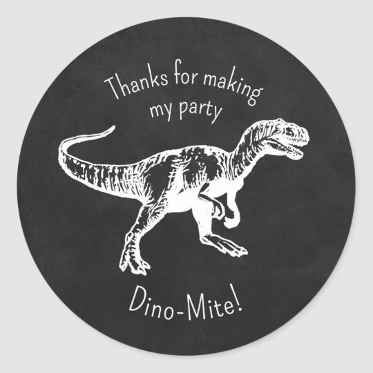 Dinosaur Thank You Party Favour Chalkboard Classic Round