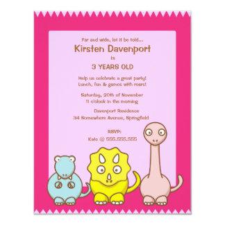 "Dinosaur Theme Girl's Birthday Party Invitation 4.25"" X 5.5"" Invitation Card"