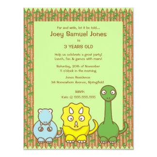 "Dinosaur Theme Kid's Birthday Party Invitation 4.25"" X 5.5"" Invitation Card"