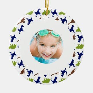 Dinosaur Theme Pattern Custom Photo Christmas Ornament