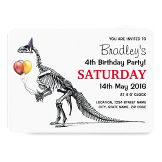 Dinosaur themed Birthday Party Card