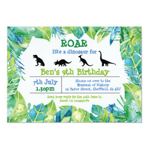 Dinosaur Birthday Invitations Zazzle Uk