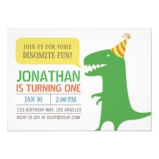 Dinosaur Themed First Birthday Boy invitation