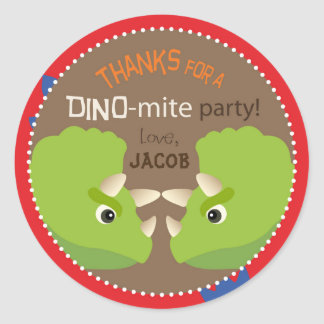 Dinosaur Triceratops Birthday Cupcake Topper Label