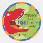 Dinosaur Tyrannosaurus Rex Birthday Cupcake Topper Round Sticker