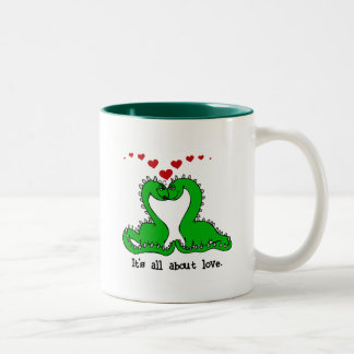 Dinosaur Valentine Love Tshirts and Gifts Two-Tone Coffee Mug