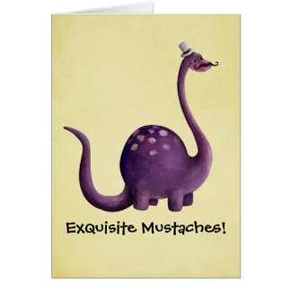Dinosaur with Mustaches Greeting Card