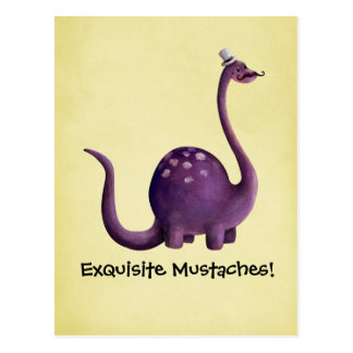 Dinosaur with Mustaches Postcard