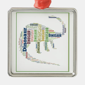 Dinosaur Word Art Silver-Colored Square Decoration