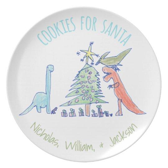 Dinosaurs Cookies for Santa Christmas Plate