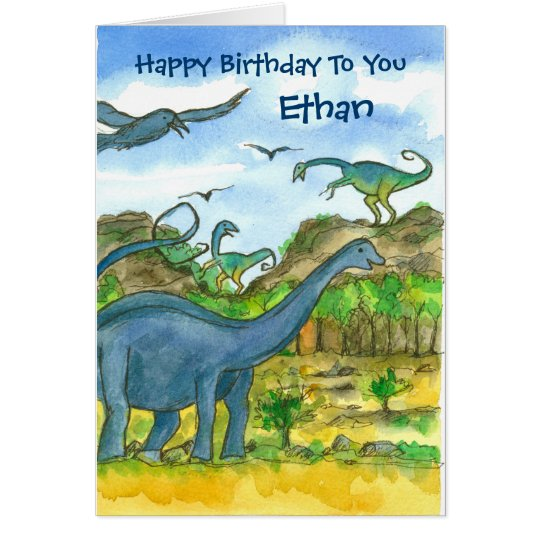 Dinosaurs Custom Name Happy Birthday Card