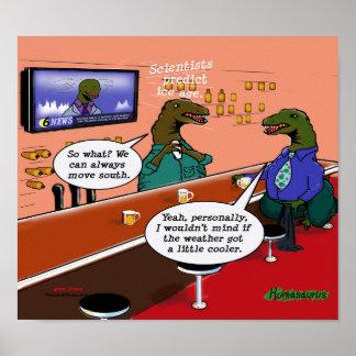 Dinosaurs in a Bar Cartoon Poster