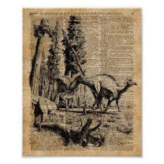 Dinosaurs In Forest Vintage Dictionary Art Poster
