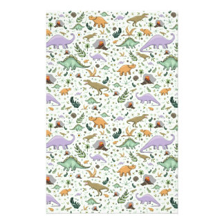 Dinosaurs in Green Stationery