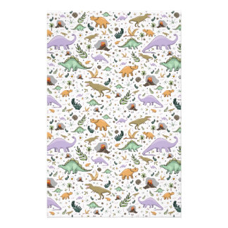 Dinosaurs in Pink Stationery