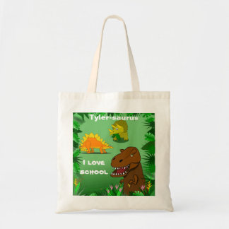 Dinosaurs in the Jungle Custom Name Kid School Bag