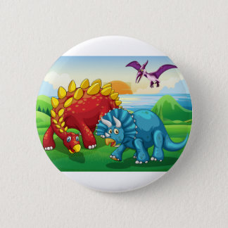 Dinosaurs in the park 6 cm round badge