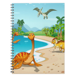 Dinosaurs living on the beach notebooks