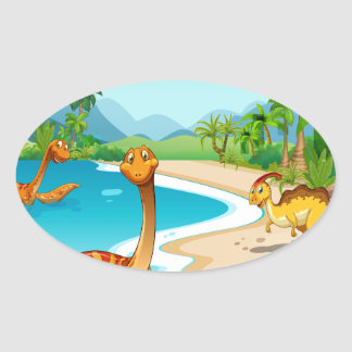 Dinosaurs living on the beach oval sticker