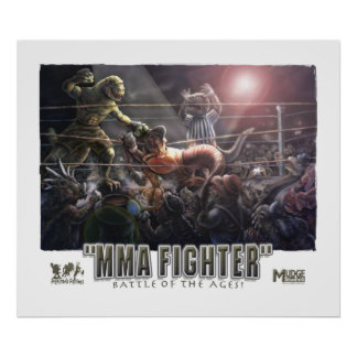 Dinosaurs MMA Fight Poster
